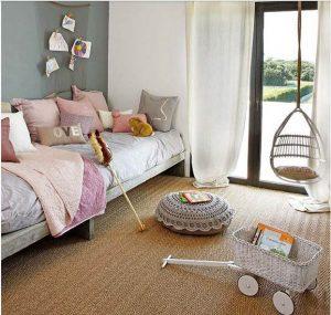 Moqueta de fibra vegetal en dormitorio infantil