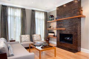 Cortinas y visillos en barra en salón clásico contemporáneo