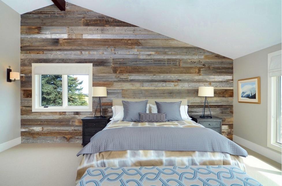 papel pintado con textura de madera en dormitorio