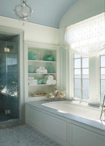 Estor de lino en baño