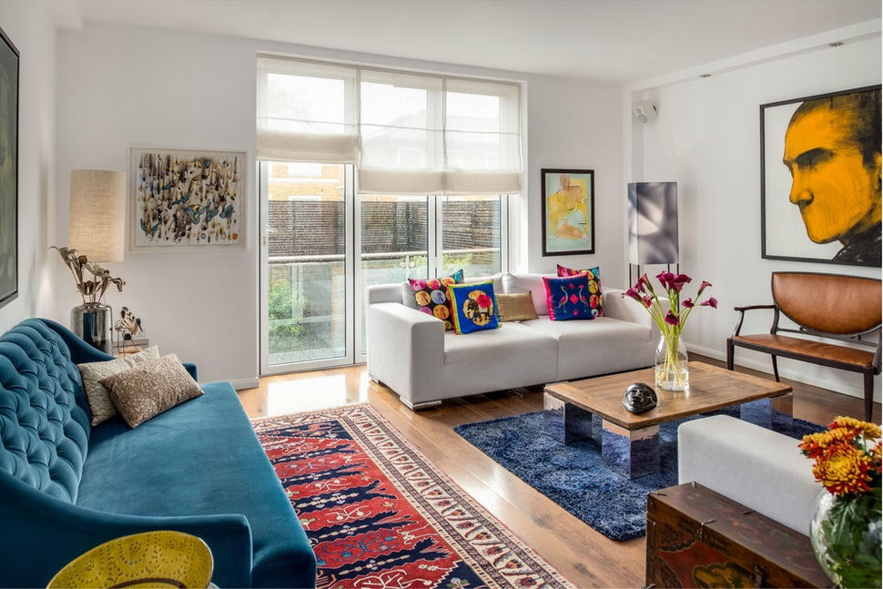 Medidas de alfombras de sal n y de dormitorio for Ikea alfombra azul