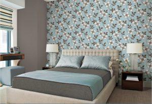 Papel pintado de flores para dormitorio principal