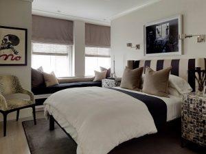 Estores pelgables dobles en dormitorio