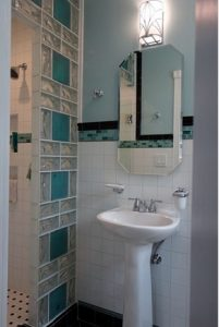 Mampara de ducha de pavés multicolor