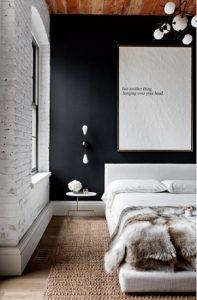 Dormitorio de Loft: Pared pintada en Gis Plomo