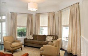 Estores para salon combinados con cortinas en barra