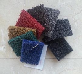 Muestras colores felpudos de rizo de vinilo
