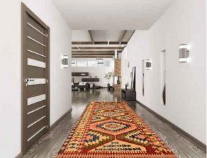 Alfombra vinílica imitación kilim para pasillo