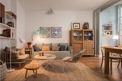 alfombra de fibra natural en saln de estilo escandinavo