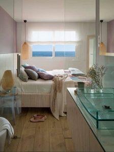 Estor de lino en dormitorio principal