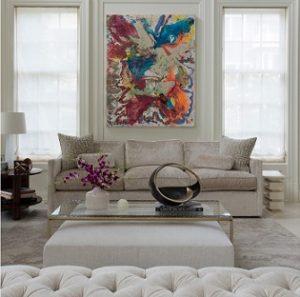 Estores de lino en salón de estilo clásico renovado
