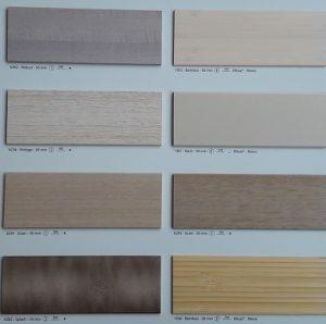 Muestrario lamas de madera para venecianas en colores neutros