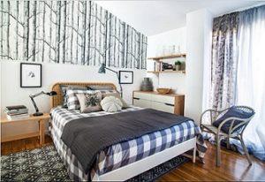 Alfombra dormitorio estampada en blanco y negro