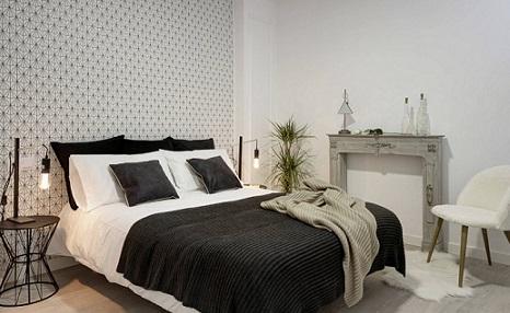 Papel pintado en blanco y negro para dormitorio moderno